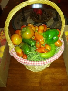 Cucumber, peppers, tomatoes and green beans.