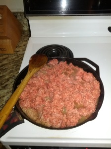 Browning ground beef to can.